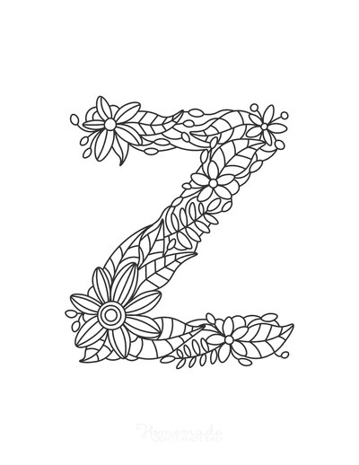 Flower Coloring Pages Letter Z