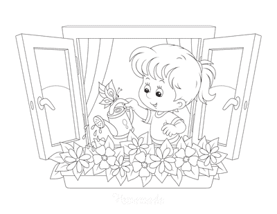 Flower Coloring Pages Little Girl Watering Window Box Flowers