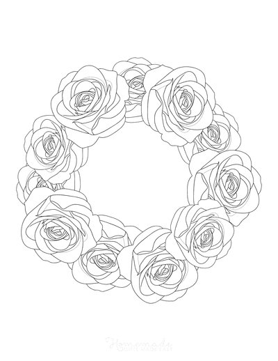 Flower Coloring Pages Rose Wreath Border