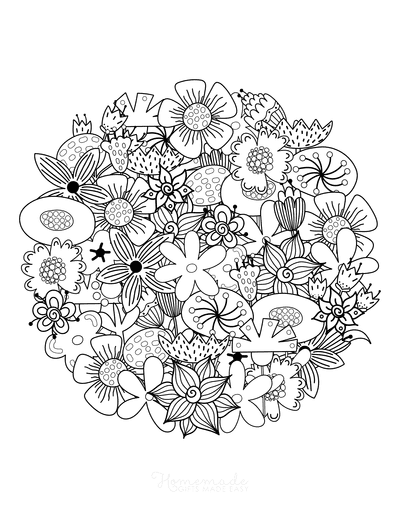 Flower Coloring Pages Round Intricate Flower Doodle