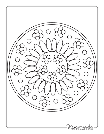 Flower Coloring Pages Simple Flower Mandala