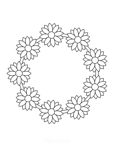 Flower Coloring Pages Simple Flower Wreath