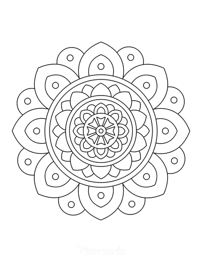 Flower Coloring Pages Simple Layered Flower Mandala