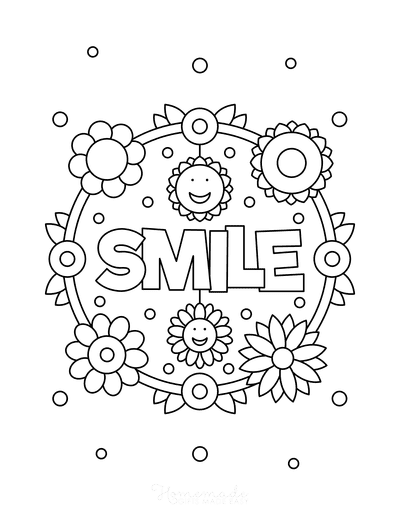 Flower Coloring Pages Smile Flower Wreath for Kids
