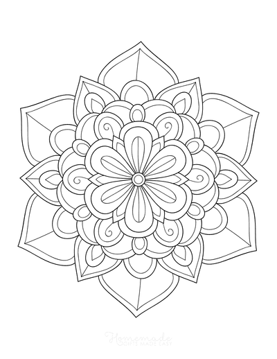 Flower Coloring Pages Symmetrical Layered Flower Doodle