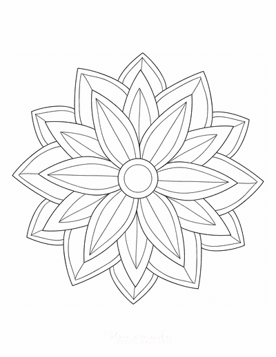 Flower Coloring Pages Symmetrical Simple Flower