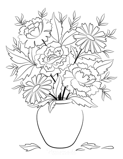 Flower Coloring Pages Vase of Flowers 2
