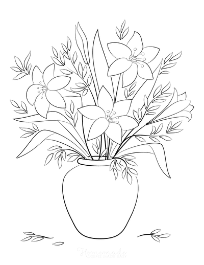 Flower Coloring Pages Vase of Flowers