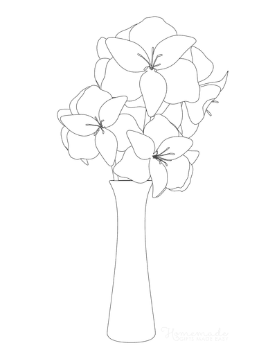 Flower Coloring Pages Vase of Lilies Outline