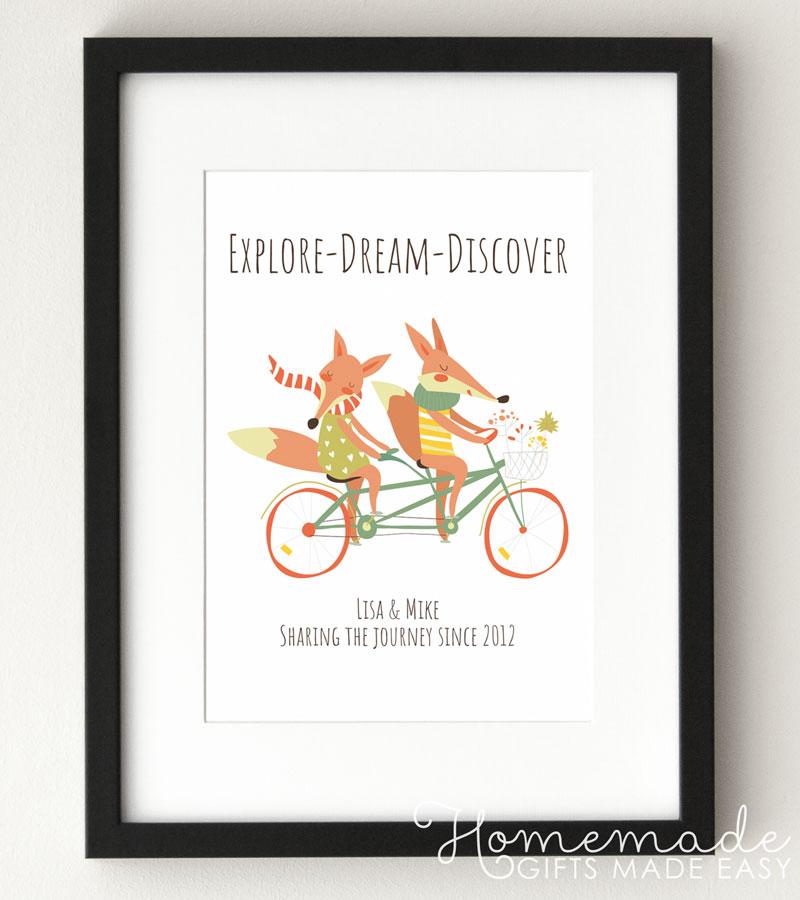 fox couple personalized poster explore dream discover
