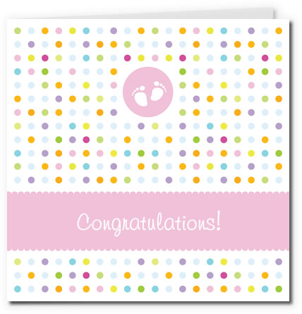 free printable baby cards - tiny feet girl