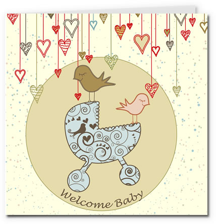 free printable baby cards - pram boy