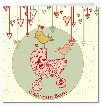 free printable baby cards - pram girl