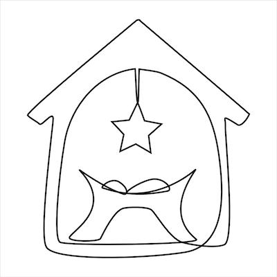 Free Printable Christmas Cards Baby Jesus Manger Star Art Line Black White