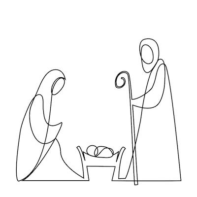 Free Printable Christmas Cards Baby Jesus Mary Joseph Line Art Black White