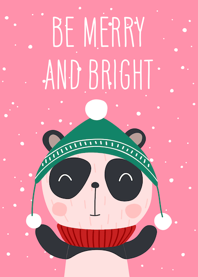 Printable Christmas Cards - Be Merry and Bright Panda Winter Hat