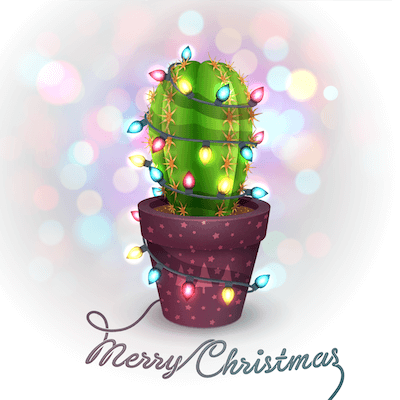 Free Printable Christmas Cards Cactus Tree Lights