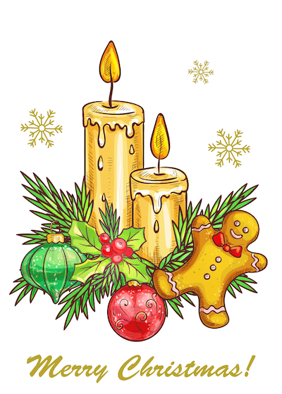 Printable Christmas Cards - Candles Gingerbread Bauble Merry