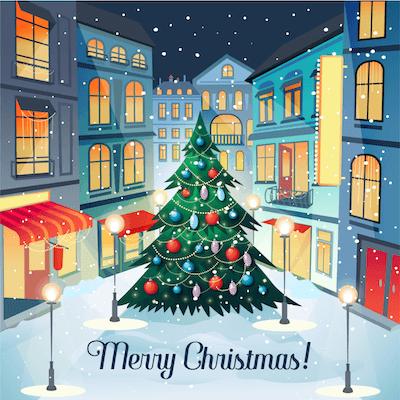 Free Printable Christmas Cards Christmas Village Square Tree Lights