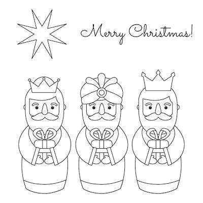 Free Printable Christmas Cards Coloring 3 Kings Star