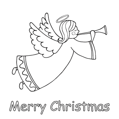 Printable Christmas Cards - Coloring Angel