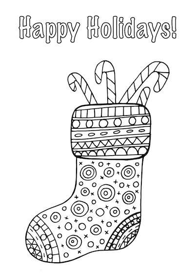 Printable Christmas Cards - Coloring Candy Cane Stockings
