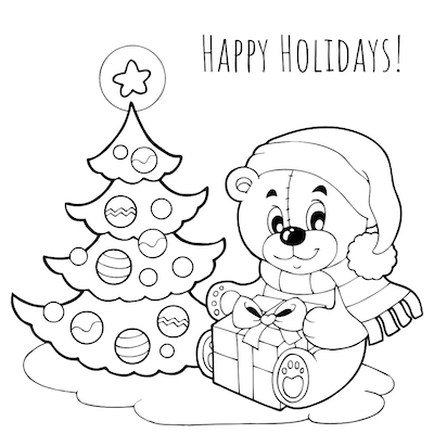 Printable Christmas Cards - Coloring Cute Bear Tree Gifts