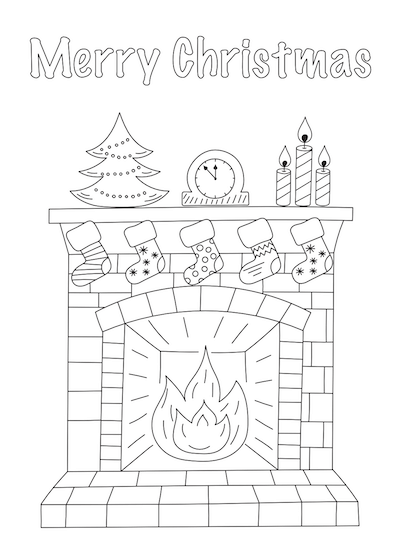 Printable Christmas Cards - Coloring Fireplace Stockings