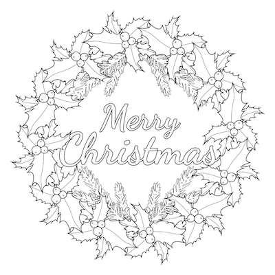 Printable Christmas Cards - Coloring Holly Wreath Merry