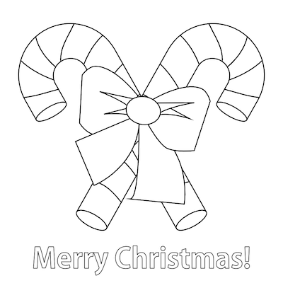 Printable Christmas Cards - Coloring Merry Candy Canes