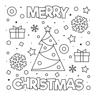 Printable Christmas Cards - Coloring Merry Tree Gifts Snowflakes