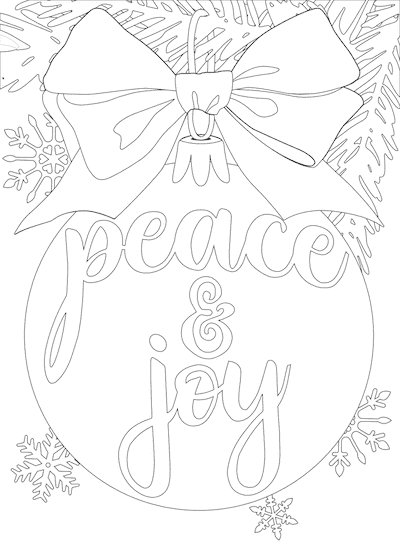 Printable Christmas Cards - Coloring Peace Joy Bauble