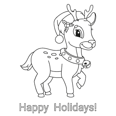 Printable Christmas Cards - Coloring Rudolph Happy Holidays