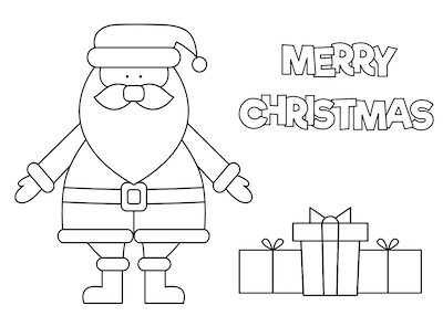 Printable Christmas Cards - Coloring Santa Gifts Simple