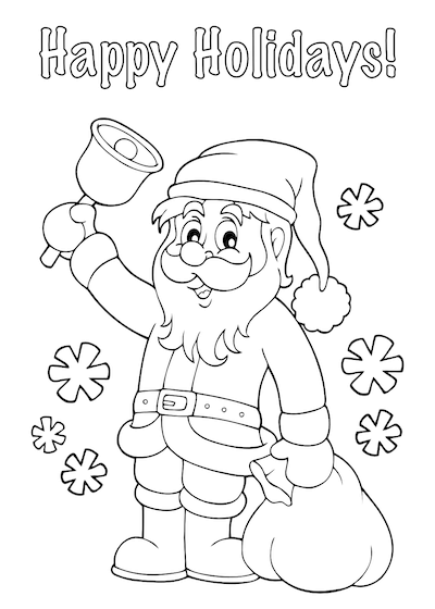 Printable Christmas Cards - Coloring Santa Sack Happy Holidays