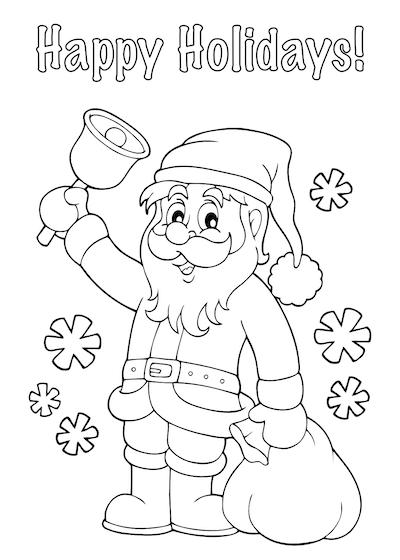 Free Printable Christmas Cards Coloring Santa Sack Happy Holidays