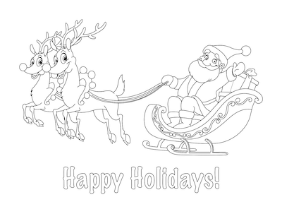 Printable Christmas Cards - Coloring Santa Sleigh