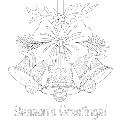 Printable Christmas Cards - Coloring Seasons Greetings Bells Doodle