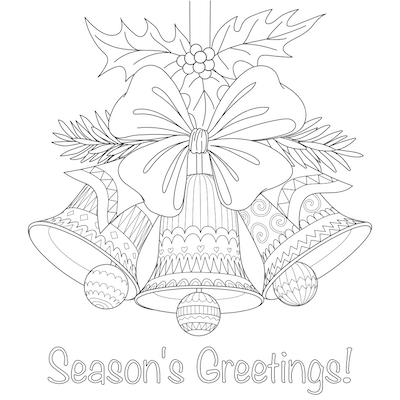 Free Printable Christmas Cards Coloring Seasons Greetings Bells Doodle