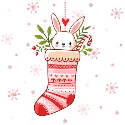 Free Printable Christmas Cards Cute Bunny Stocking