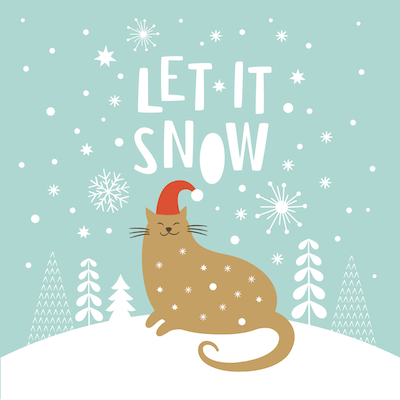 Printable Christmas Cards - Cute Cat Let It Snow