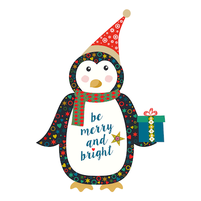 Printable Christmas Cards - Cute Penguin Gift