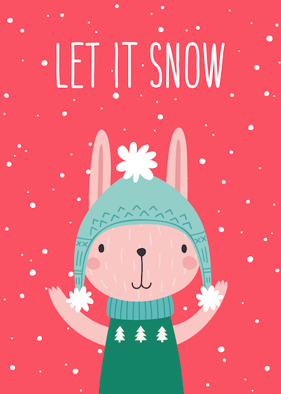 Printable Christmas Cards - Cute Winter Rabbit