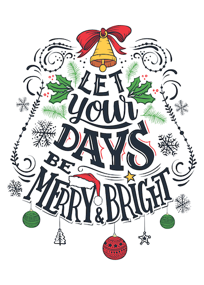 Printable Christmas Cards - Days Merry Bright Wordart