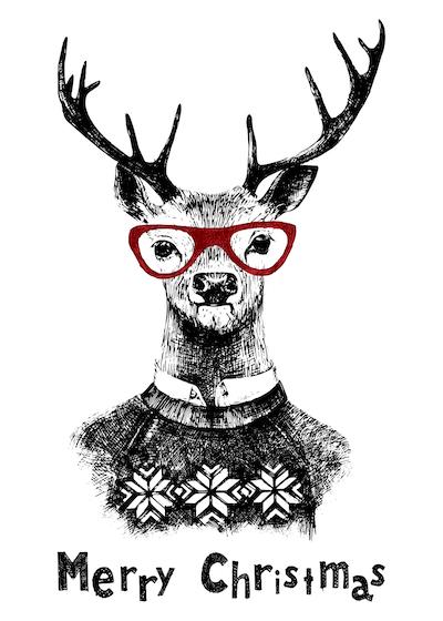 Free Printable Christmas Cards Deer Jumper Merry