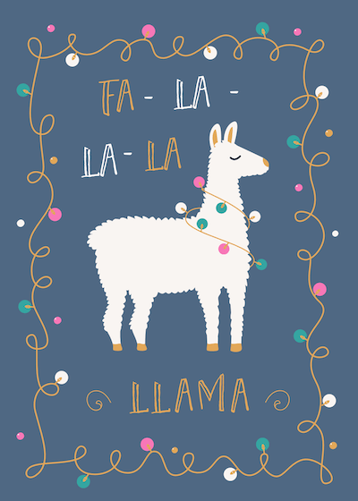 Free Printable Christmas Cards Falalala Llama