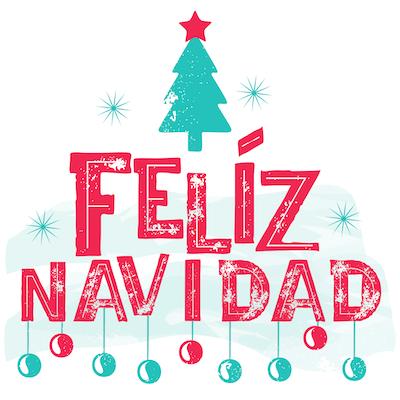 Free Printable Christmas Cards Feliz Navidad Baubles Tree Star