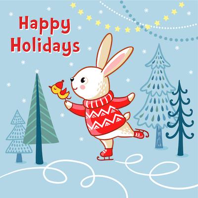 Free Printable Christmas Cards Happy Holidays Bunny Skating