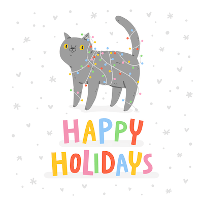 Printable Christmas Cards - Happy Holidays Cat Lights