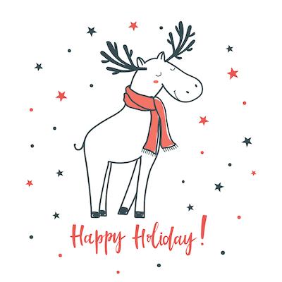 Free Printable Christmas Cards Happy Holidays Cute Deer Scarf